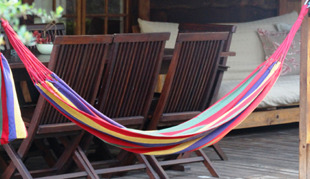 Hammock at Plettenberg Bay chalet for a family - relax on Nguni's stoep